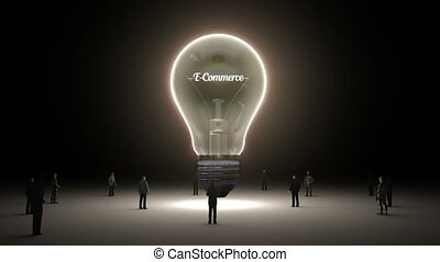 Typo 'E Commerce' in light bulb and surrounded businessmen,...