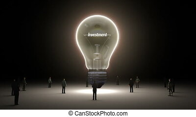 Typo 'Investment' in light bulb and surrounded businessmen,...