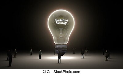 Typo 'Marketing Strategy' in light bulb and surrounded...