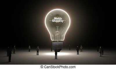 Typo 'Mobile sopping' in light bulb and surrounded...