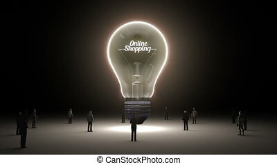 Typo 'Online Shopping' in light bulb and surrounded...