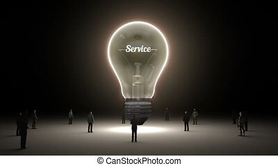 Typo 'Service' in light bulb and surrounded businessmen,...