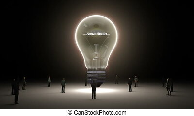 Typo 'Social media' in light bulb and surrounded...
