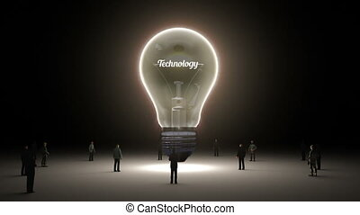 Typo 'Technology' in light bulb and surrounded businessmen,...