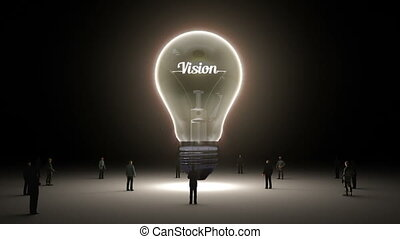 Typo 'Vision' in light bulb and surrounded businessmen,...