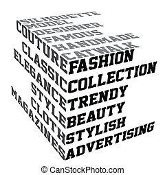 typografie, met, mode, termijnen