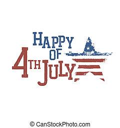 typografie, voor, vierde, juli, celebration., vector, eps10