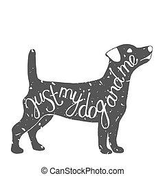typografisch, dog, aanhalen, label.