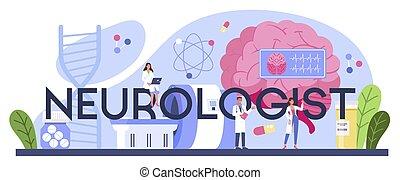 typografiska, header., läkare, neurologen, undersöka, mänsklig, brain.