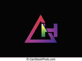 Typographic alphabet H in a triangle with vibrant colors