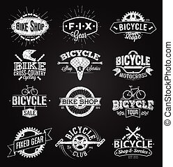 Typographic Bicycle Label and Logo chalk drawing