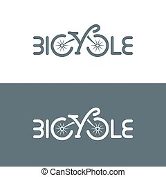 Typographic bicycle logo. Vector illustration.