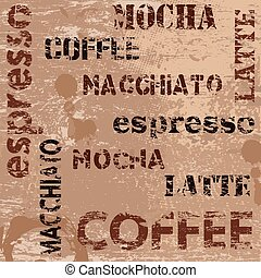 Typographic coffee poster design and grunge scratched...