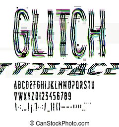 Typographic glitch font with digital image data distortion, ...