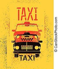 retro grunge taxi cab poster.