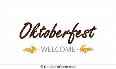 Typographic inscription Oktoberfest, art video illustration.