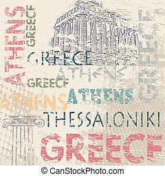 Typographic poster design with Greece and city names Athens...
