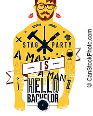 Typographic poster for stag party ""