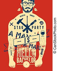Typographic poster for stag party.