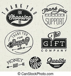 Typographic titles and symbols. - Thank you for choosing us,...