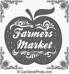 Typographic vintage poster. Farmers market. Can be used as a print on T-shirts and bags, label, restaurant menu and organic food shop. Hand drawn vegan lettering. Inspirational eco poster.