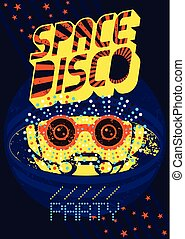 Typographic vintage Space Disco Party poster design. Retro vector illustration.