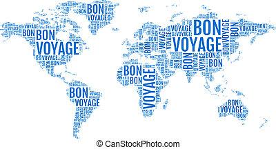 bon voyage, typographic world map, travelling, vector illustration
