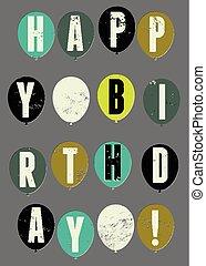 typographical, birthday!, retro, felice