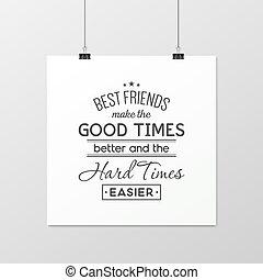typographical, poster., amicizia, quote.