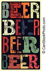 typographical, vendange, style, bière, po
