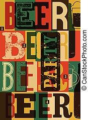 typographical, vendange, style, papa, bière