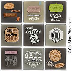 typographie, étiquettes, retro