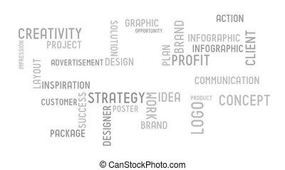 typographie, concept, -, animation
