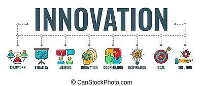typographie, innovation, bannière, collaboration