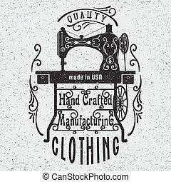 typographie, machine., couture, affiche, vendange, main, dessiné