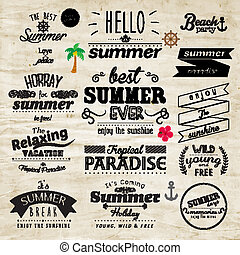 typographie, sommer feiertag, abzeichen, vektor, design