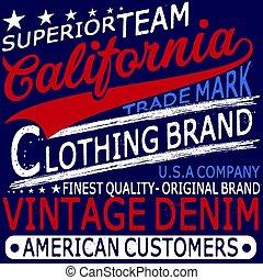 typographie, vendange, jean, marque, logo, impression, pour, t-shirt., retro, typon, vecteur, illustration