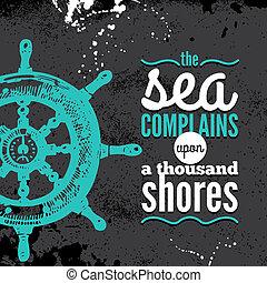 typographique, grunge, main, voyage, textured, mer, nautique, croquis, conception, arrière-plan., illustration., dessiné, design.