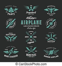typography., ベクトル, 手ざわり, 型, 背景, セット, 飛行機, ラベル, レトロ, ぼろぼろ, 暗い