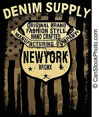 typography;, 型, デニム, vectors, graphics;, tシャツ, アメリカ