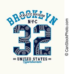 Typography Athletic Brooklyn 32 with a background of white...