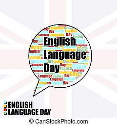 Typography Balloon for English Language Day vector ...
