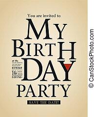Typography Birthday card design template
