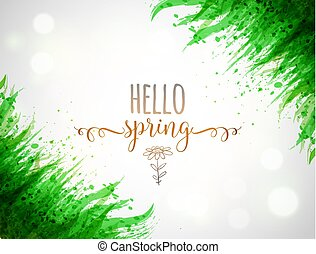 Typography composition with Hello spring words and green leaves of grass on white glowing background