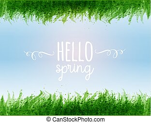 Typography composition with Hello spring words, blue sky and green leaves of grass