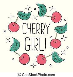 Typography graphic slogan cherry girl, vector for modern t shirt print