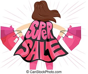 Super Sale - Typography Illustration Featuring the Phrase...