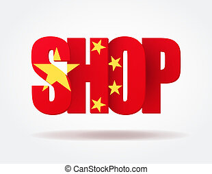 Logo in the form of letters SHOP of China. Vector illustration for web design and business. White background isolated, editable.