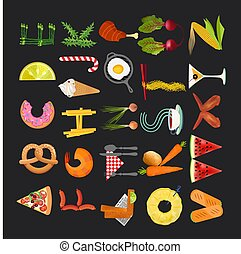 Food Alphabet. Typography Kitchen Poster. Vector Illustration