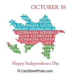 Typography Map of Azerbaijan in flag colors